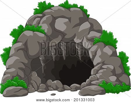Vector illustration of Cartoon the cave with stalactites