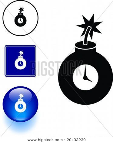 round time bomb symbol sign and button