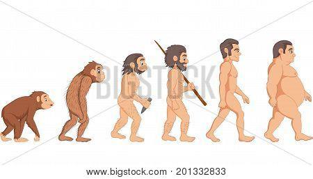 Vector illustration of Cartoon evolution of man