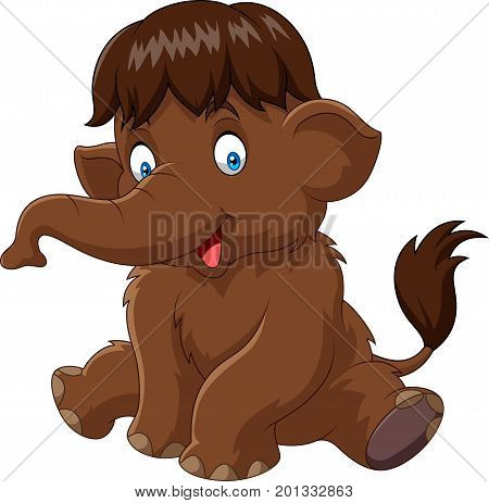 Vector illustration of Cartoon baby mammoth isolated on white background