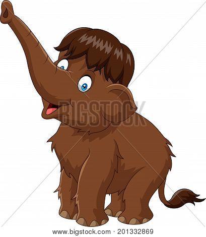 Vector illustration of Cartoon funny baby mammoth