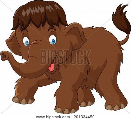 Vector illustration of Cartoon baby mammoth on white background