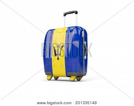 Luggage With Flag Of Barbados. Suitcase Isolated On White