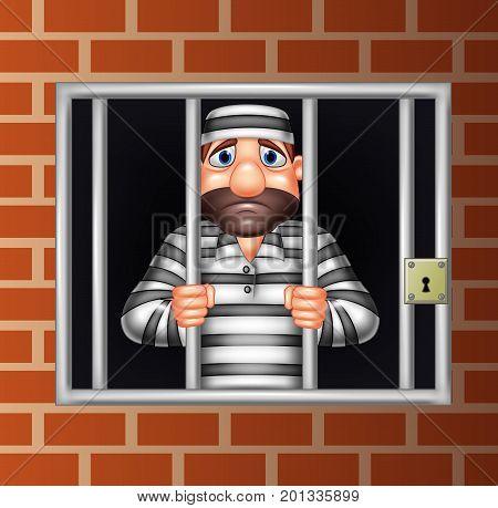 Vector illustration of Cartoon criminal in jail