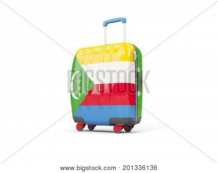 Luggage With Flag Of Comoros. Suitcase Isolated On White