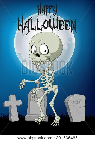 Vector illustration of Halloween background with skeleton walking in the cemetery