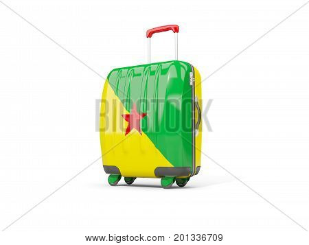 Luggage With Flag Of French Guiana. Suitcase Isolated On White