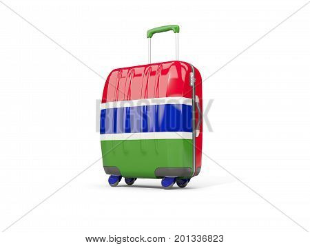 Luggage With Flag Of Gambia. Suitcase Isolated On White