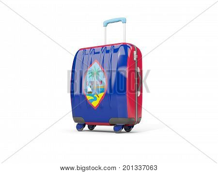 Luggage With Flag Of Guam. Suitcase Isolated On White