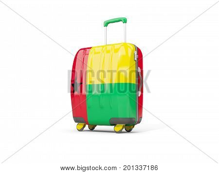 Luggage With Flag Of Guinea Bissau. Suitcase Isolated On White