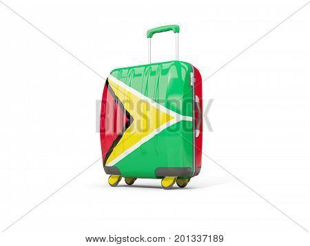Luggage With Flag Of Guyana. Suitcase Isolated On White