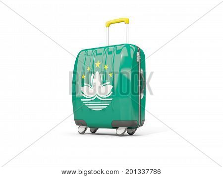 Luggage With Flag Of Macao. Suitcase Isolated On White