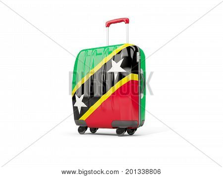 Luggage With Flag Of Saint Kitts And Nevis. Suitcase Isolated On White