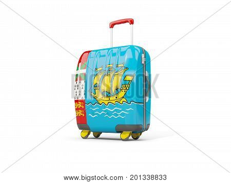 Luggage With Flag Of Saint Pierre And Miquelon. Suitcase Isolated On White