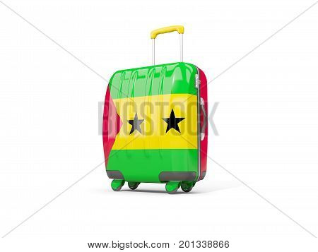 Luggage With Flag Of Sao Tome And Principe. Suitcase Isolated On White