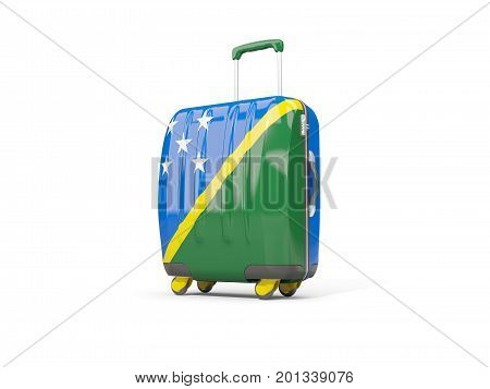 Luggage With Flag Of Solomon Islands. Suitcase Isolated On White