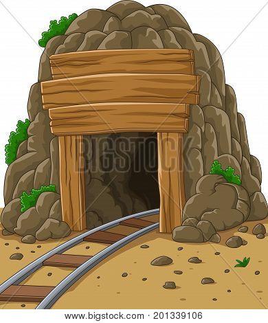 Vector illustration of Cartoon mine entrance on mountain