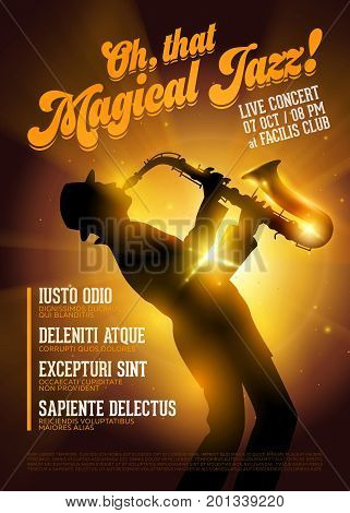Isolated Vector Jazz Poster. Silhouette of Saxophone Player against a Stage Gold Light. Music Poster Template for Festival Flyer Ticket Concert Night Club.