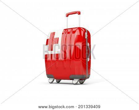 Luggage With Flag Of Tonga. Suitcase Isolated On White