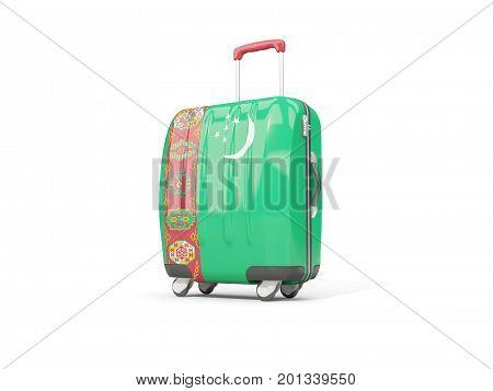 Luggage With Flag Of Turkmenistan. Suitcase Isolated On White