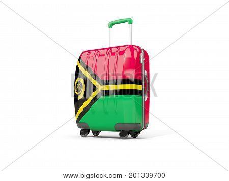 Luggage With Flag Of Vanuatu. Suitcase Isolated On White