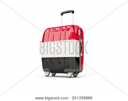 Luggage With Flag Of Yemen. Suitcase Isolated On White