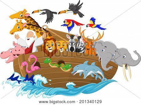Vector illustration of Cartoon Noah's ark on ocean