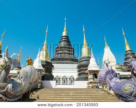 Beautiful temple in Chiangmai,Thailand. Public place to worship in Buddhism