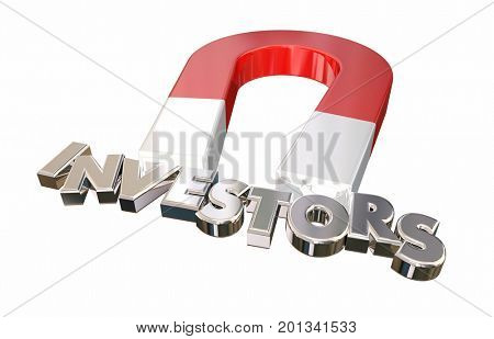 Investors Magnet Attracting Funding Letters Word 3d Illustration poster