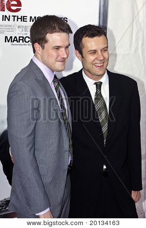 """NEW YORK - MARCH 1: Writer Will Fetters (left) and producer Nick Osborne attend the movie premiere of """"Remember Me"""" at the Paris Theatre on March 1, 2010 in New York City."""