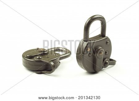 Two locked padlocks. Security and data protection