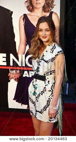 "Actress Leighton Meester attends the movie premiere of ""Date Night"" at the Ziegfeld Theatre on April 6, 2010 in New York City."