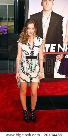 """Actress Leighton Meester attends the movie premiere of """"Date Night"""" at the Ziegfeld Theatre on April 6, 2010 in New York City."""