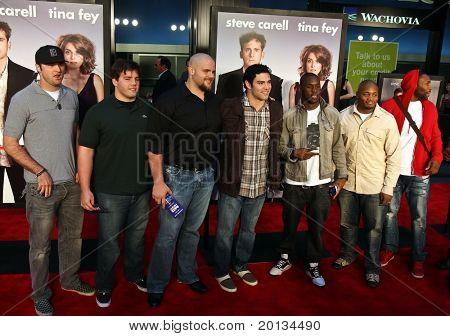 "Some of the NY Jets (Mike Parenton, Matt Slauson, Mark Sanchez, Dustin Keller, Kris Jenkins, Braylon Edwards) attend ""Date Night"" premiere at the Ziegfeld Theatre on April 6, 2010 in New York City."