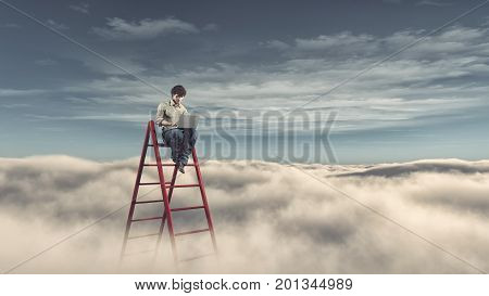 Man with a laptop on a ladder above the clouds. Success business and ambitions concept. This is a 3d render illustration poster