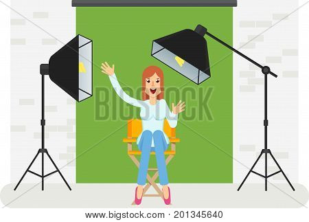 Young cheerful girl sitting on high chair of producer in photo studio for video. Equipment for movies advertising photographers. Softbox camera searchlight. Flat vector cartoon illustration.