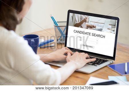 HR manager searching for new candidates online to fill open vacancy, recruiter working on laptop in recruitment agency, we are hiring, human resource management, job search app service, close up view