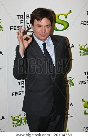 NEW YORK - APRIL 21: Actor Mike Myers attends the 2010 TriBeCa Film Festival opening night premiere of 'Shrek Forever After' at the Ziegfeld Theatre on April 21, 2010 in New York City.