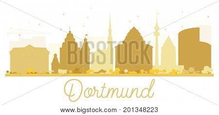 Dortmund City skyline golden silhouette. Simple flat concept for tourism presentation, banner, placard or web site. Cityscape with landmarks.