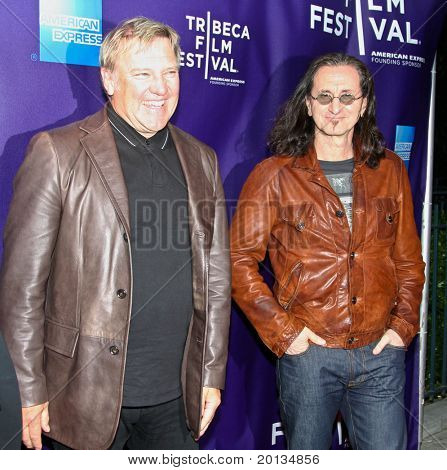 """NEW YORK - APRIL 24: Alex Lifeson (L) and Geddy Lee (R) attend the """"RUSH: Beyond the Lighted Stage"""" premiere during the 2010 TriBeCa Film Festival at the School of Visual Arts Theater on April 24, 2010 in New York City."""