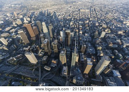 Late afternoon aerial view downtown Los Angeles in Southern California.
