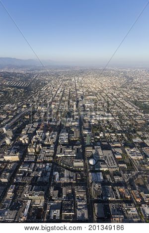 Hollywood vertical aerial view in Los Angeles, California.