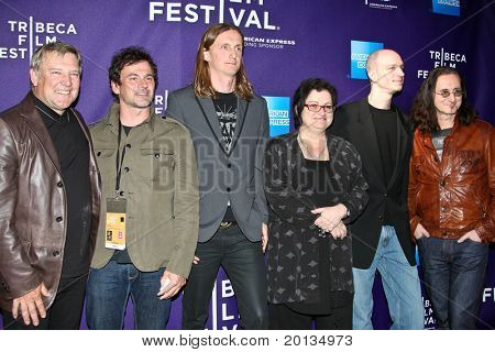 "NEW YORK - APRIL 24: Alex Lifeson,Scott McFadyen,Sam Dunn,Pegi Cecconi,Joe Virant, Geddy Lee attend ""RUSH: Beyond the Lighted Stage"" premiere at TriBeCa Film Festival on April 24, 2010 in New York."