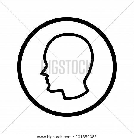 Male Head icon iconic symbol inside a circle on transparency grid. Vector Iconic Design.