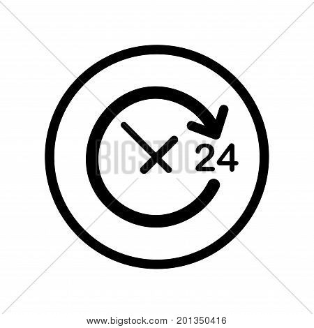 Open Around the Clock a day icon with text; 24 iconic symbol inside a circle on transparency grid. Vector Iconic Design.