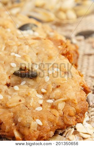 Closeup Of Oatmeal Cookies On Jute Burlap, Healthy Dessert Concept