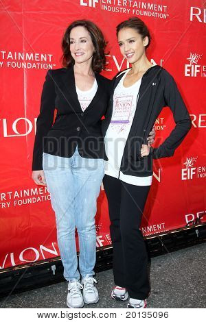 NEW YORK - MAY 1: Lilly Tartikoff and Jessica Alba attend the 13th Annual Entertainment Industry  Foundation Revlon Run/Walk for Women at Times Square on May 1, 2010 in New York City.