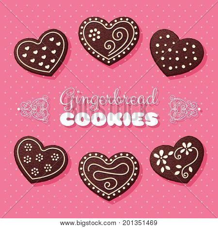 Gingerbread heart shaped cookies. Vector Illustration in retro style