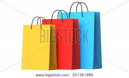 Colourful paper shopping bags 3d illustration.3D render isolated on white background.