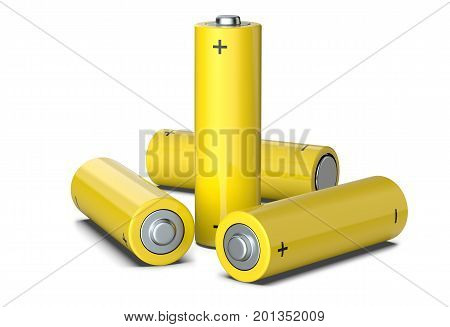 Group of yellow AA size batteries isolated on white 3D render